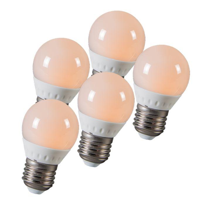 LED-guľa-E27-3W,-250-lúmenov,-približne-25W,-sada-5