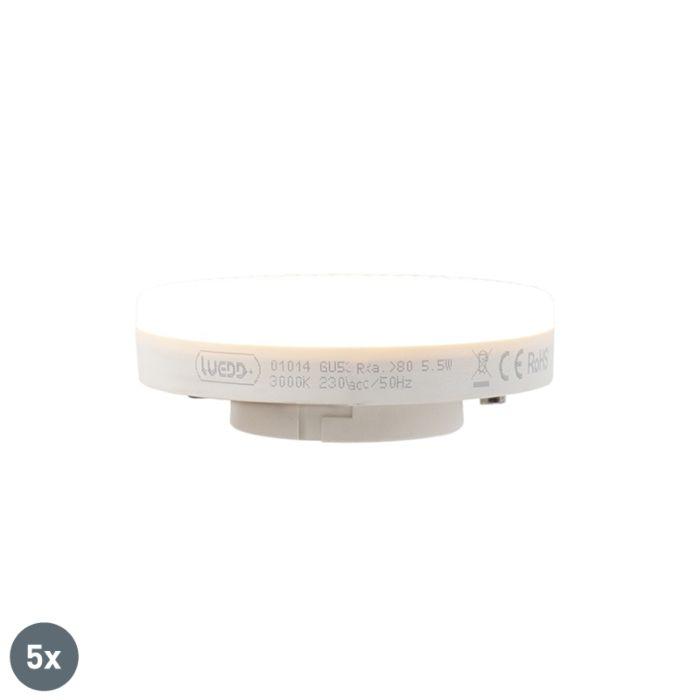 Sada-5-LED-žiarovky-GX53-5,5-W-470-lúmenov-3000K
