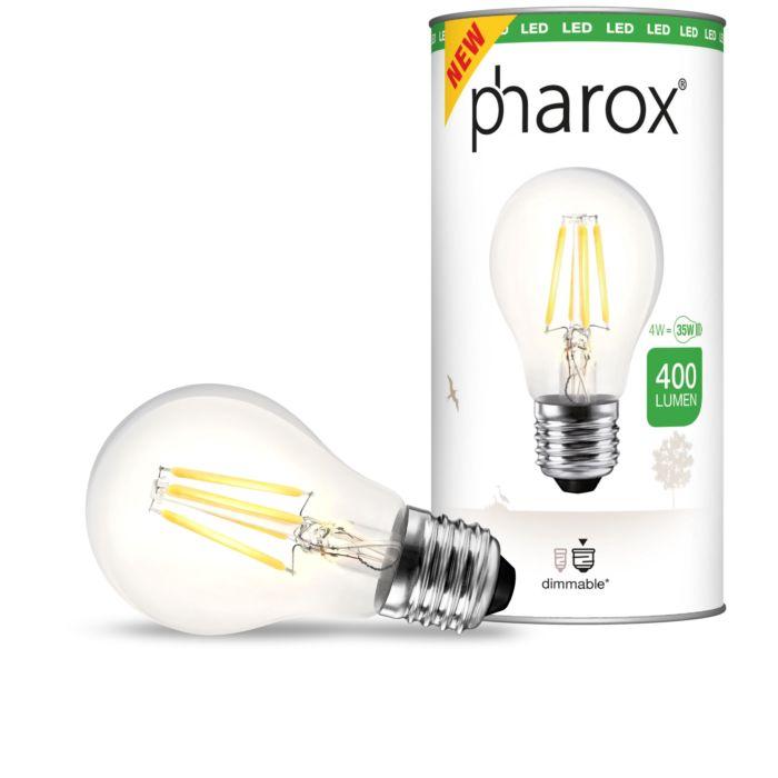 LED-žiarovka-Pharox-číra-E27-4W-400-lúmenov