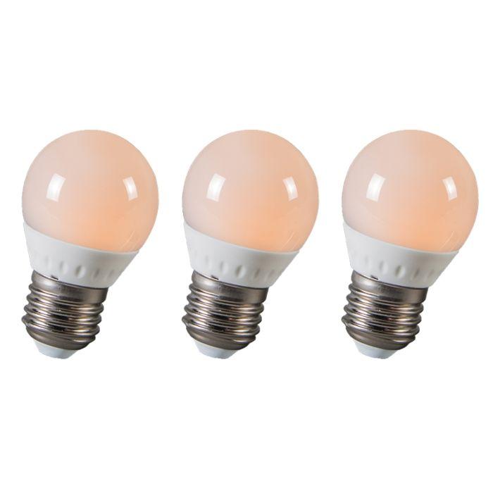 LED-guľa-E27-3W,-250-lúmenov,-približne-25W,-sada-3