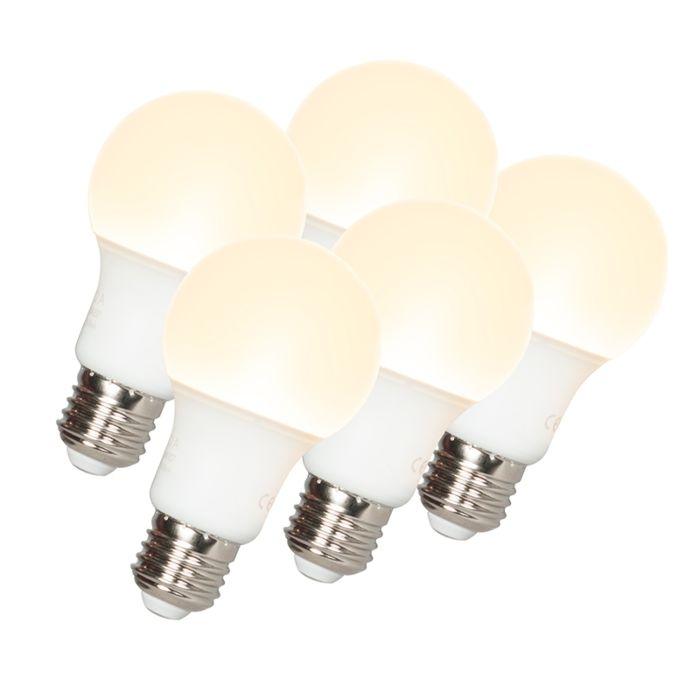 Sada-5-LED-žiarovky-A60-E27-9W-3000K