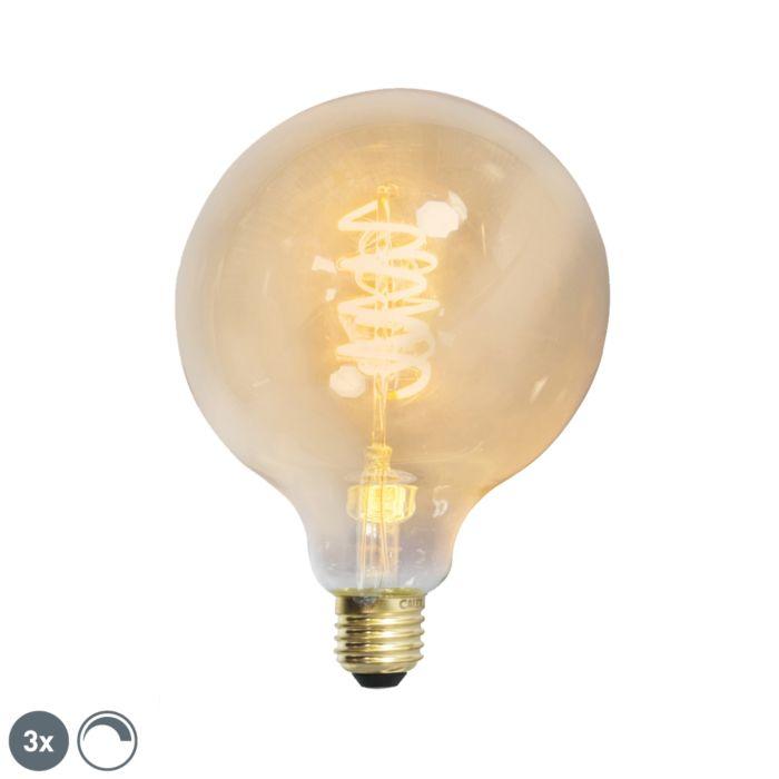 Sada-3-stmievateľných-stočených-vlákien-LED-G27,-zlatá-čiara,-E27
