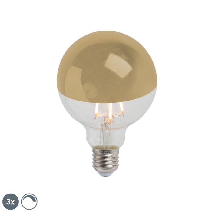 Sada-3-E27-stmievateľných-LED-polozrkadiel-G95-zlatých-280lm-2300K