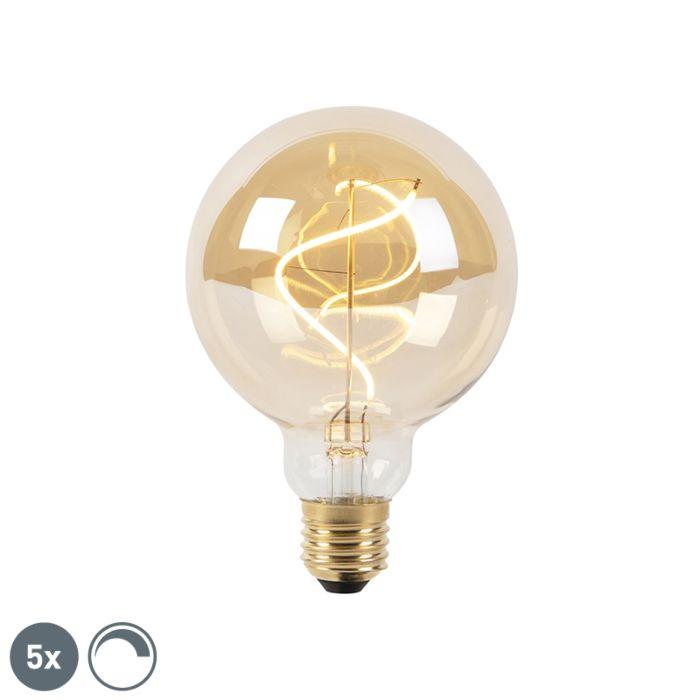 Sada-5-stmievateľných-žiaroviek-LED-špirálového-vlákna-E27-G95-goldline