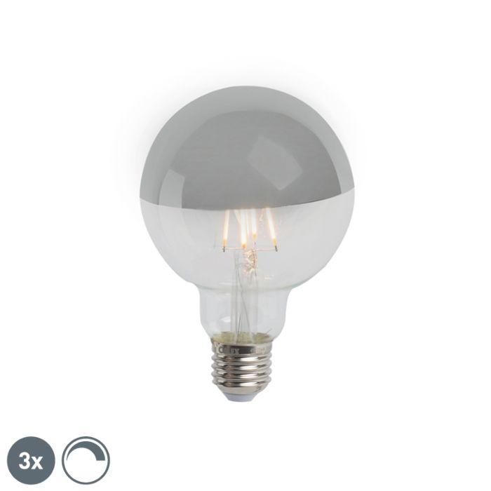 Sada-3-E27-stmievateľných-LED-polozrkadiel-G95-strieborná-280lm-2300K