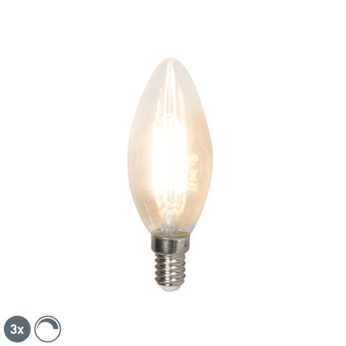 Sada-3-LED-žiaroviek-s-žiarovkami-E14-240V-3,5W-350lm-B35-stmievateľných