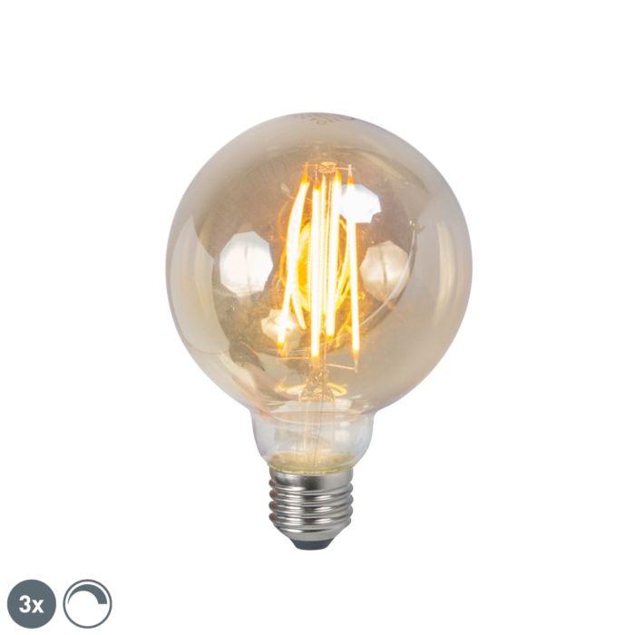 Sada-3-LED-žiaroviek-E27-5W-2200K-G95-stmievateľných-dymom
