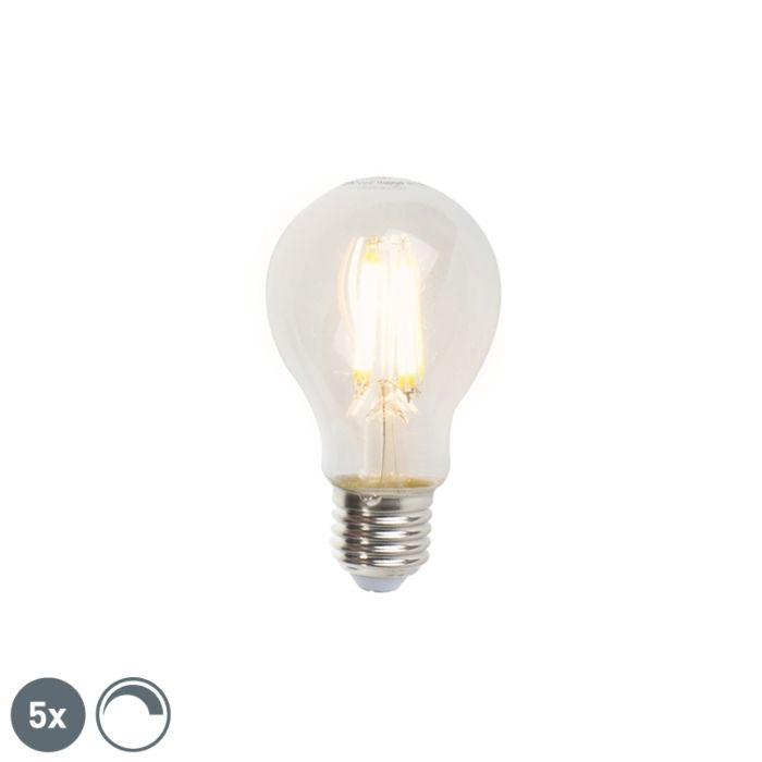 Sada-5-stmievateľných-žiaroviek-LED-E27-A60-7W-806lm-2700K
