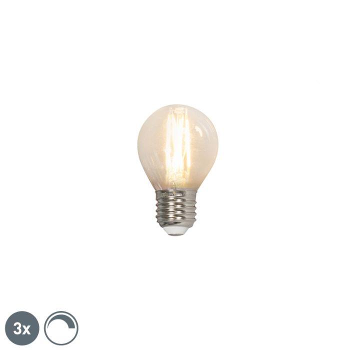 Sada-3-LED-žiaroviek-s-guľovým-vláknom-E27-240V-3,5W-350lm-P45-stmievateľných