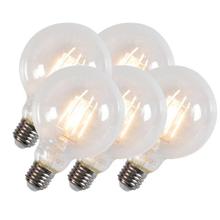 Sada-5-LED-žiaroviek-G95-E27-6W-600-lúmenov