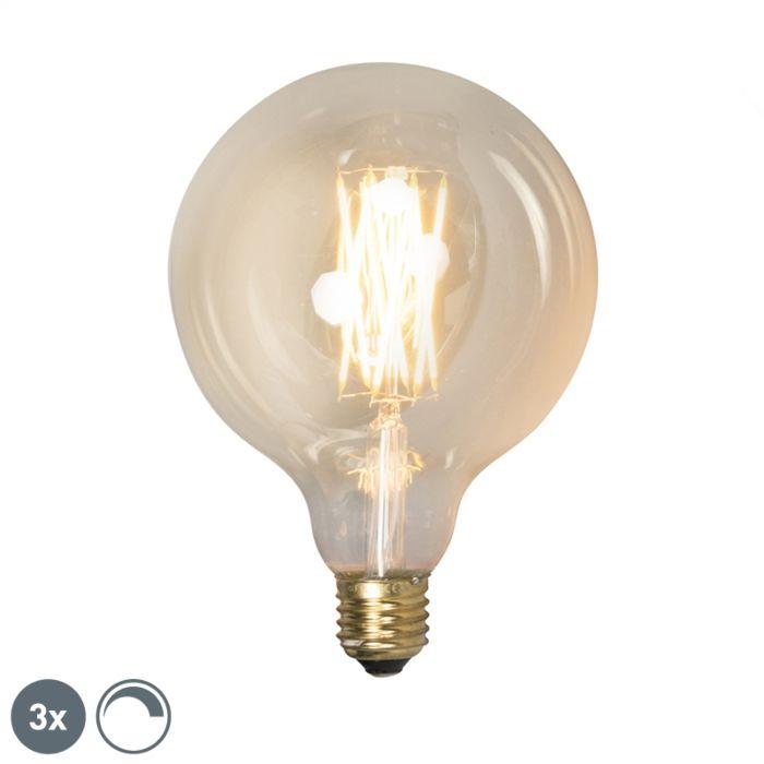 Sada-3-stmievateľných-LED-žiaroviek-E27-G125-goldline-320lm-2100-K.