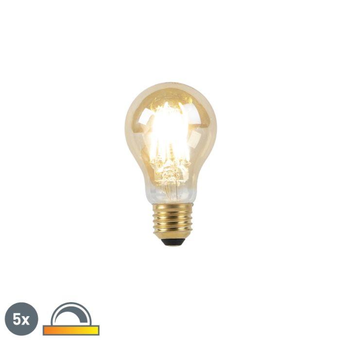 Sada-5-žiaroviek-E27-LED-8W-2000-2600K-stlmených-na-teplé-zlaté-vlákno