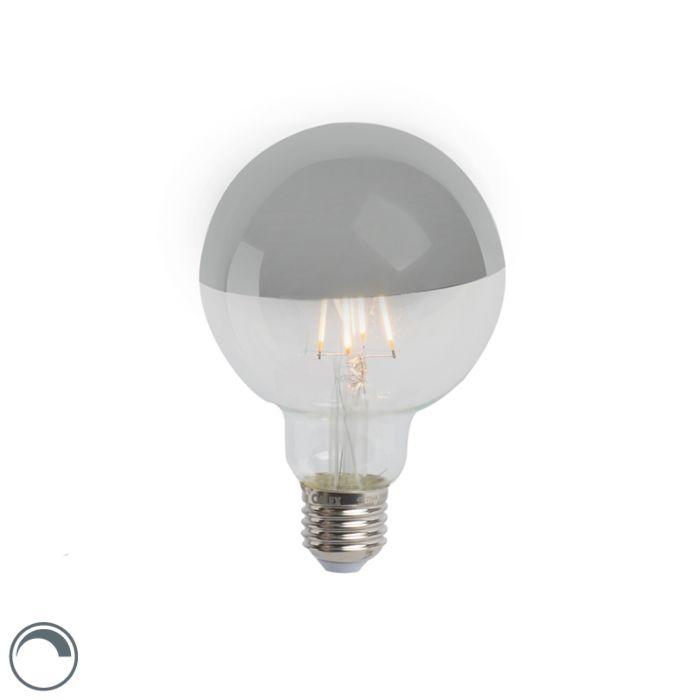 Zrkadlo-s-žiarovkou-LED-žiarovka-strieborné-E27-240V-4W-280lm-2300K-G95-stmievateľné