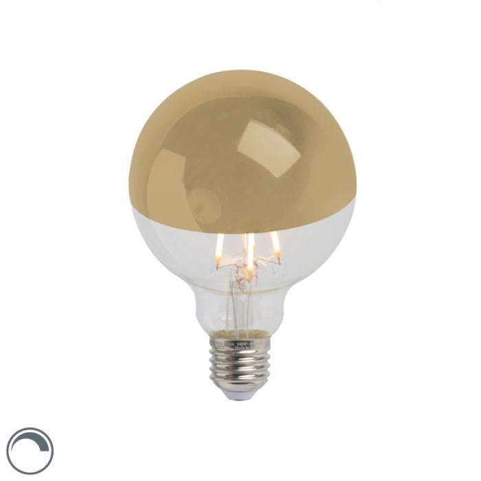Zrkadlo-s-žiarovkou-LED-žiarovka-zlaté-E27-240V-4W-280lm-2300K-G95-stmievateľné