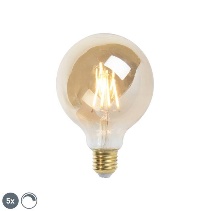 Sada-5-stmievateľných-LED-žiaroviek-E27-9,5-cm-5W-360-lúmenov-2200K