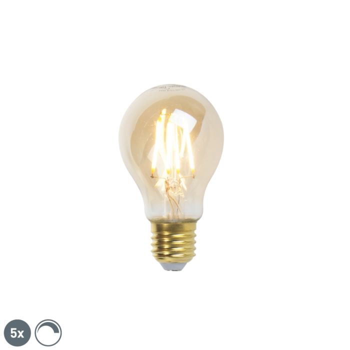 Sada-5-stmievateľných-žiaroviek-LED-žiarovka-E27-goldline-360lm-2200K
