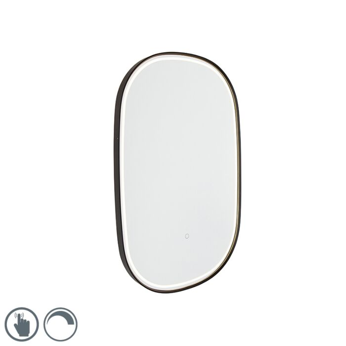 Kúpelňové-zrkadlo-čierne-vrátane-LED-s-dotykovým-stmievačom-oválne---Miral