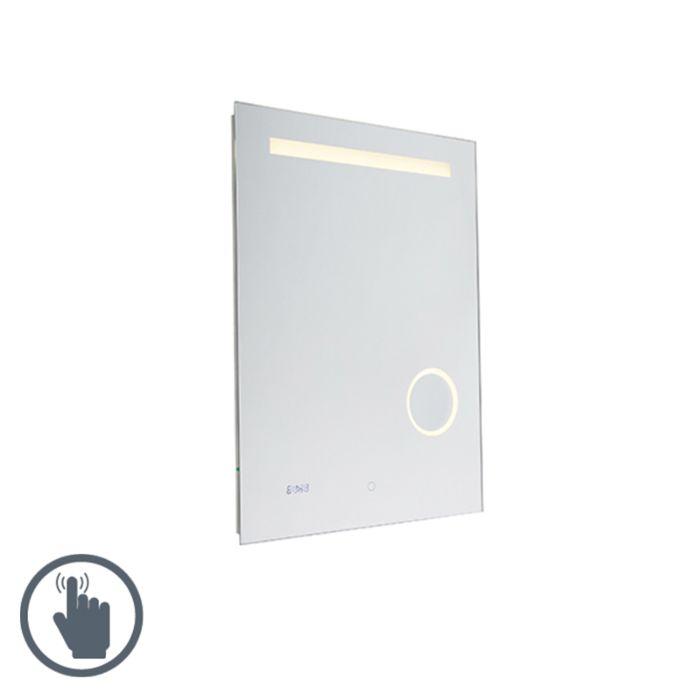 Kúpelňové-zrkadlo-60x80-cm-vrátane-LED-s-dotykovým-stmievačom-a-hodinami---Miral