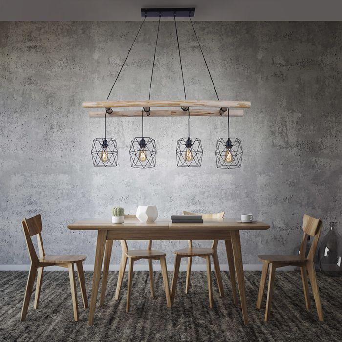 Priemyselná-závesná-lampa-čierna-s-drevom-4-svetlá---Mediena