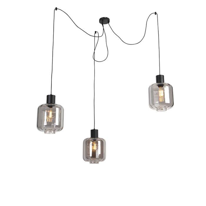 Dizajnové-závesné-svietidlo-čierne-s-dymovým-sklom-3-svetlo-226-cm---Qara