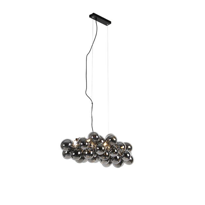 Dizajnová-závesná-lampa-čierna-s-dymovým-sklom-8-svetiel---Uvas