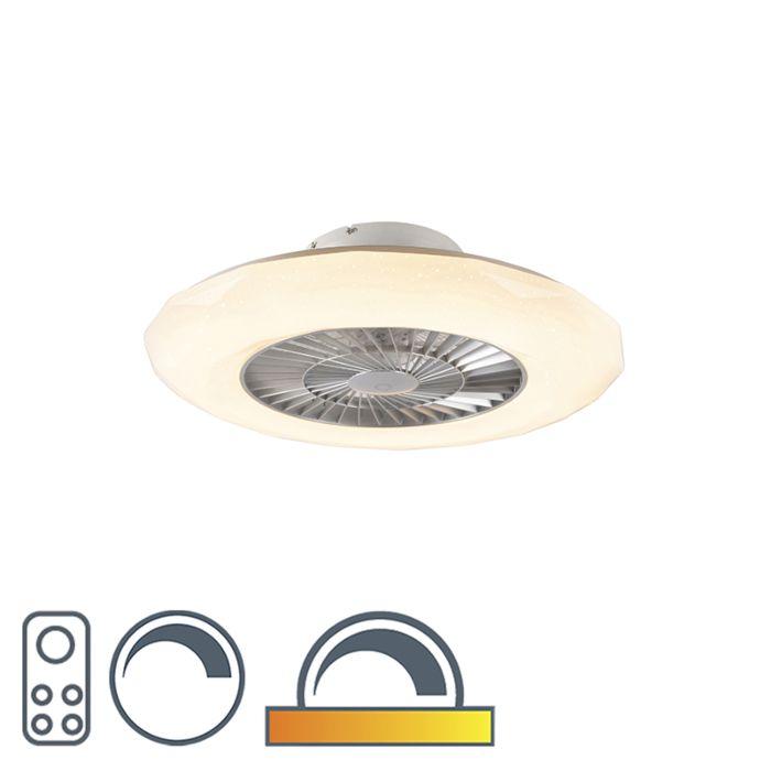 Strieborný-stropný-ventilátor-vrátane-LED-s-hviezdnym-efektom-stmievateľný---Clima