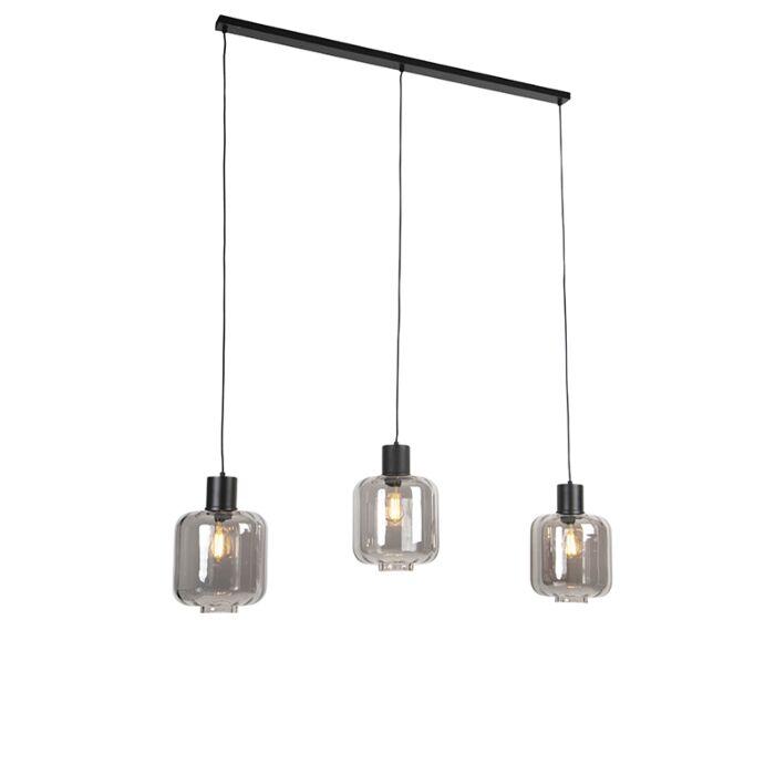 Dizajnové-závesné-svietidlo-čierne-s-dymovým-sklom-3-svetlo-161,5-cm---Qara