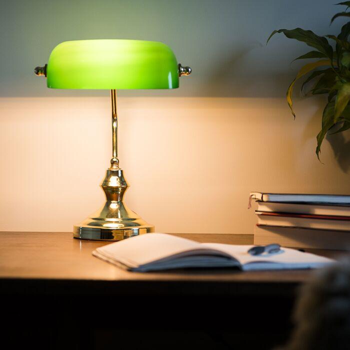 Klasická-stolná-lampa-/-notárska-lampa-mosadz-so-zeleným-sklom---Banker