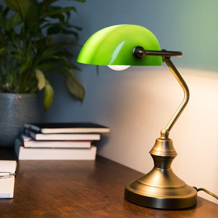 Klasická-stolová-lampa-/-notárska-lampa-bronzová-so-zeleným-sklom---Banker