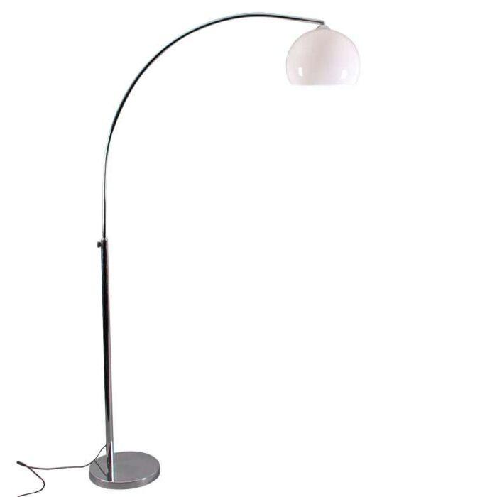 Malá-pochrómovaná-oblúková-lampa-s-bielym-tienidlom