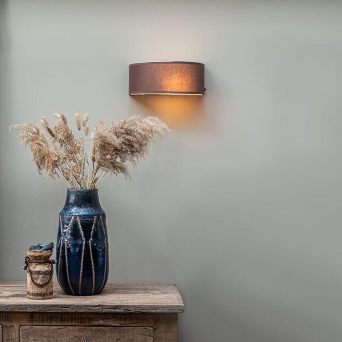 Vidiecka-nástenná-lampa-pol-guľatá-hnedá---bubon