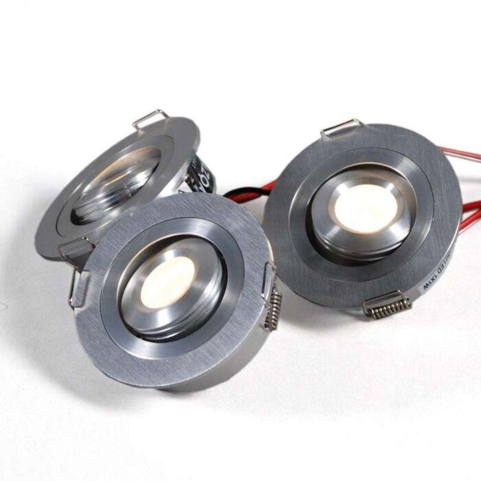 Osvetlená-vstavaná-sada-z-3-x-1-W-hliníka