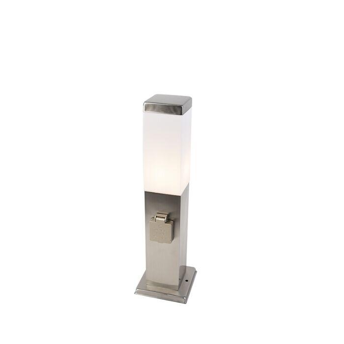 Moderné-vonkajšie-svietidlo-45-cm-oceľové-s-objímkou-IP44---Malios