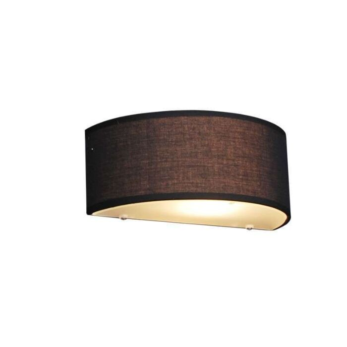 Vidiecka-nástenná-lampa-polkruhová-čierna---bubon