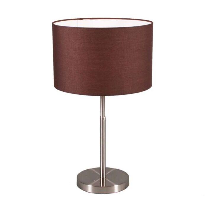 Stolová-lampa-Bubnová-oceľ-s-hnedým-tienidlom