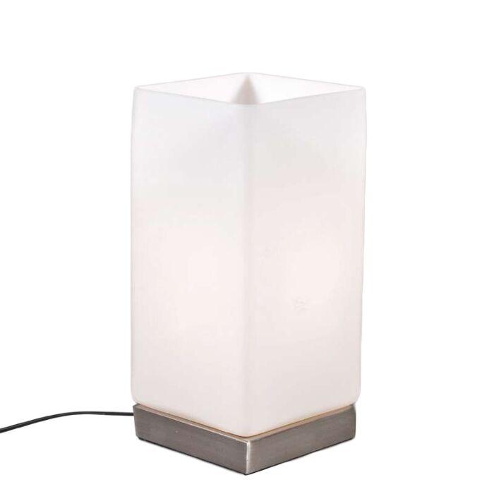 Stolová-lampa-Batéria-oceľová-s-bielym-sklom