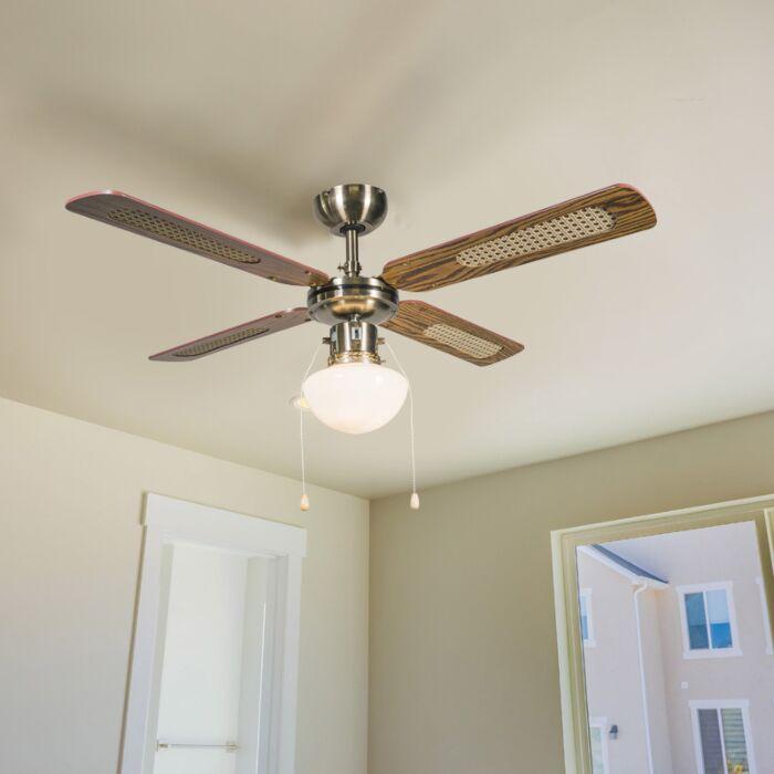 Priemyselný-stropný-ventilátor-so-žiarovkou-100-cm-drevo---Wind