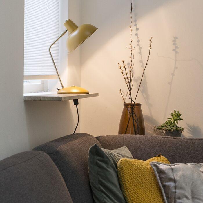 Retro-stolová-lampa-žltá-s-bronzom---Milou