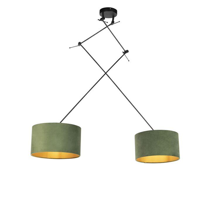 Závesná-lampa-so-zamatovými-odtieňmi-zelenej-so-zlatou-35-cm---Blitz-II-čierna
