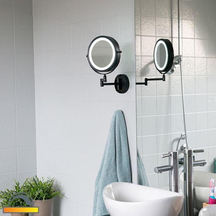 Dizajnové-kúpeľňové-zrkadlo-čierne-vrátane-LED-nastaviteľného-IP44---Vicino
