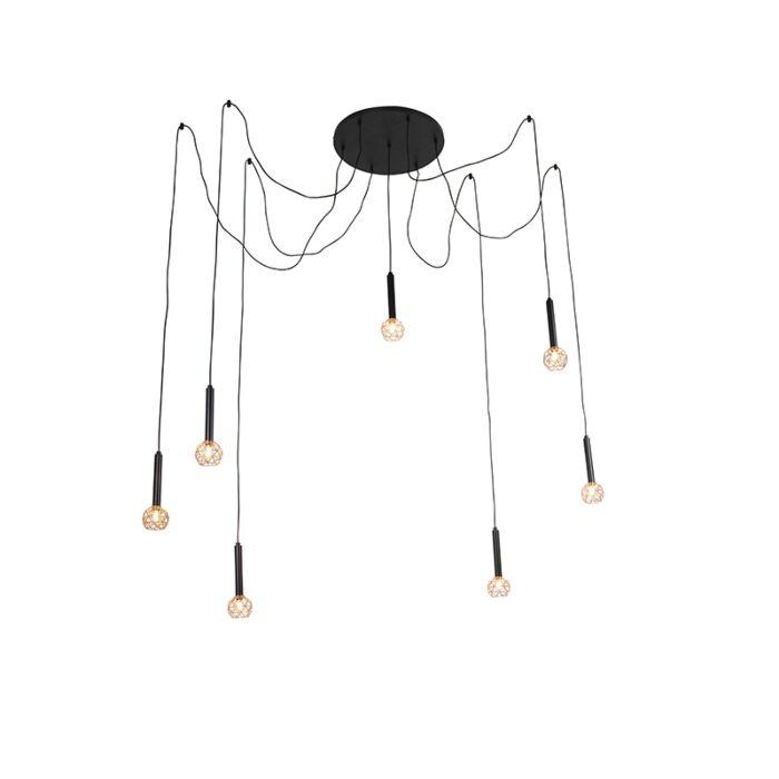 Závesná-lampa-čierna-s-medenými-7-svetlami---Mesh