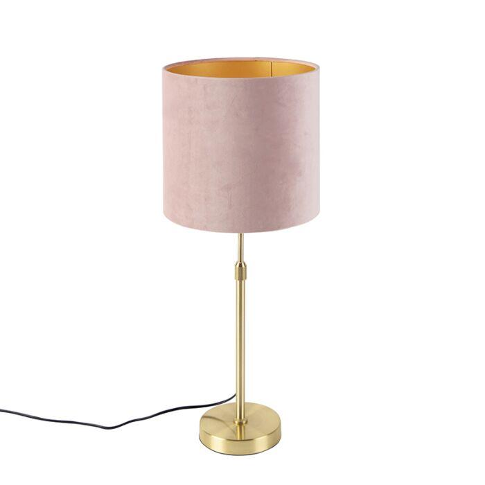 Stolová-lampa-zlatá-/-mosadz-s-ružovým-zamatovým-odtieňom-25-cm---Parte
