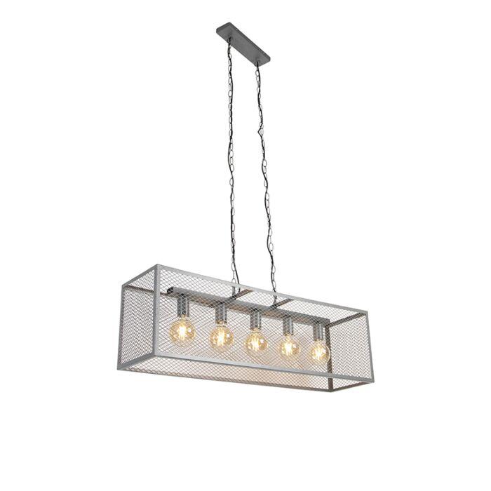 Priemyselná-závesná-lampa-starožitné-strieborné-5-žiaroviek---Cage-Robusto