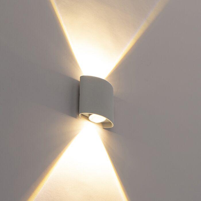 Dizajnové-vonkajšie-nástenné-svietidlo-strieborné-vrátane-LED-2-svetiel---Silly