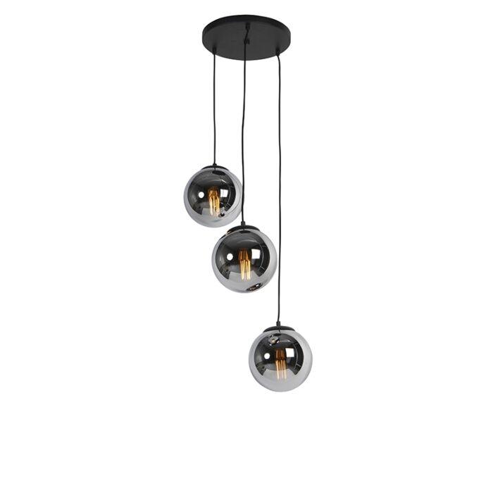Art-Deco-závesná-lampa-čierna-s-dymovým-sklom-3-svetlo---Pallon