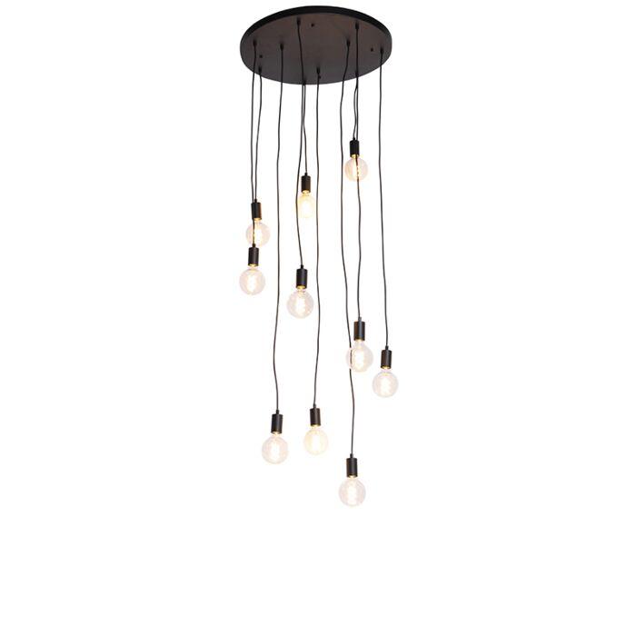 Moderné-závesné-svietidlo-čierne-60-cm-10-svetiel---Facil
