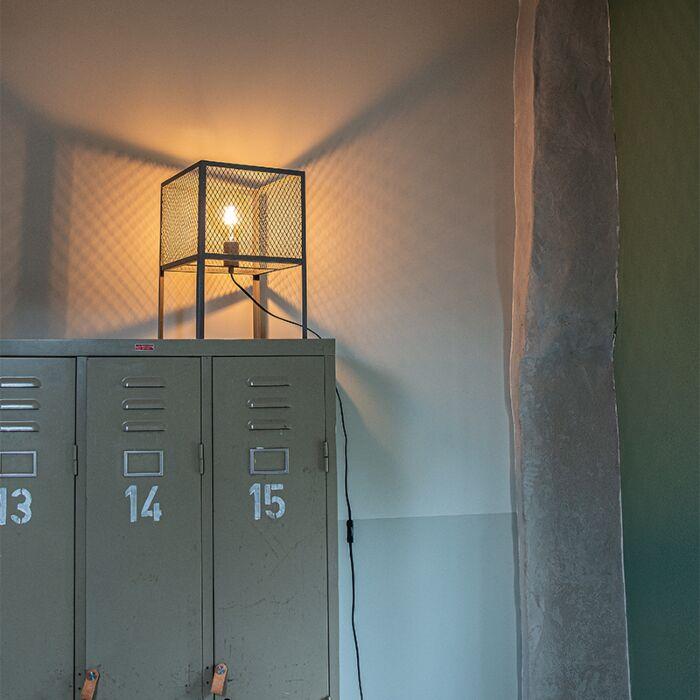 Priemyselná-stolová-lampa-starožitné-striebro---Cage-Robusto