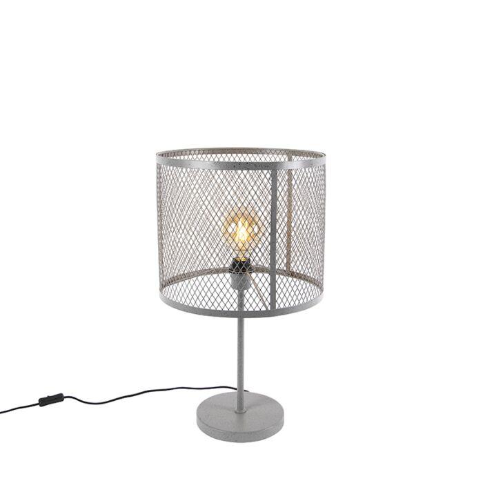 Priemyselná-okrúhla-stolná-lampa-starožitné-striebro---Cage-Robusto