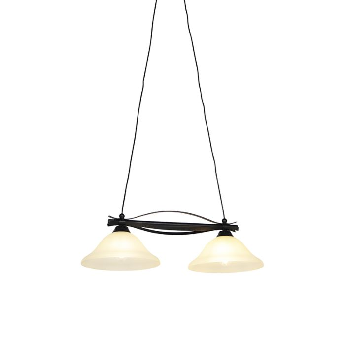 Klasická-závesná-lampa-hnedá-s-béžovým-sklom-2-svetlá---Pirata